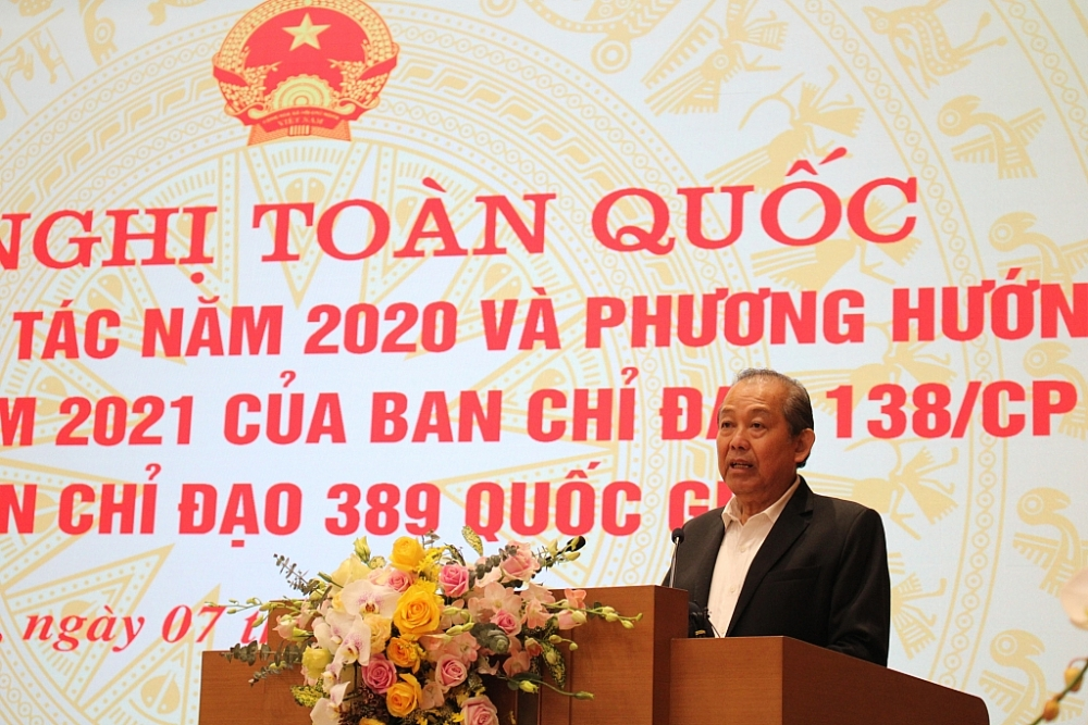 Phó Thủ tướng Chính phủ Trương Hòa Bình phát biểu chỉ đạo hội nghị. Ảnh: Q.H