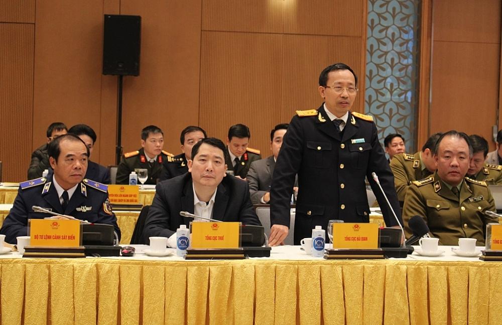 Tổng cục trưởng Tổng cục Hải quan Nguyễn Văn Cẩn tham luận tại hội nghị. Ảnh: Q.H