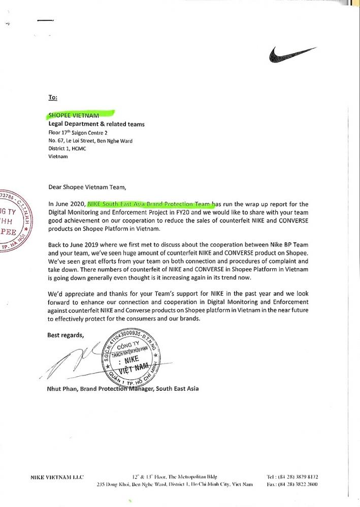 Nike  khẳng định nhận được sự hợp tác tích cực của Shopee Việt Nam trong việc gỡ bỏ hàng giả, hàng nhái mang nhãn hiệu NIKE và CONVERSE trên sàn Shopee.vn