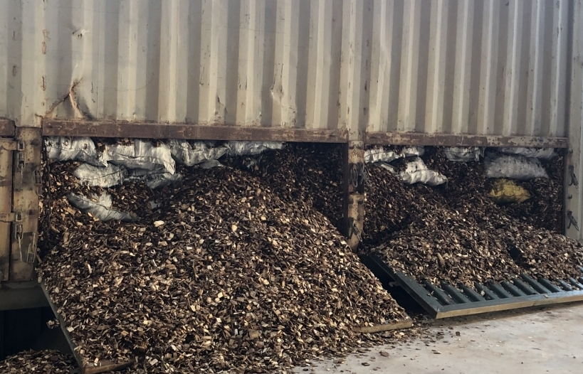 Giấu hơn 24 tấn than bên trong lô dăm gỗ xuất khẩu