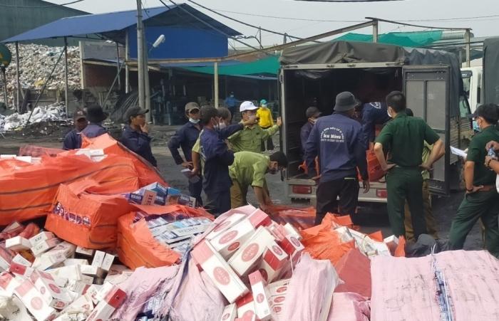 Tây Ninh: Tiêu hủy hơn 254.000 bao thuốc lá Hero, Jet, 555