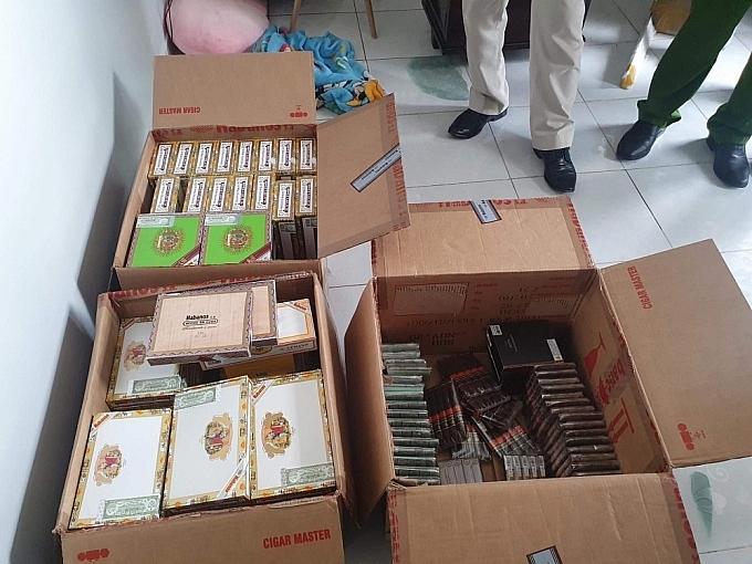 Tang vật xì gà do lực lượng Công an Hà Nội bắt giừa trong tháng 4/2021.