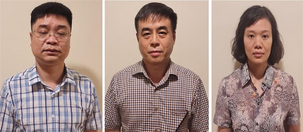 Các bị can (từ trái qua phải): Lê Việt Phương; Phạm Ngọc Hải; Thành Thị Đông Phương. Ảnh: Bộ Công an