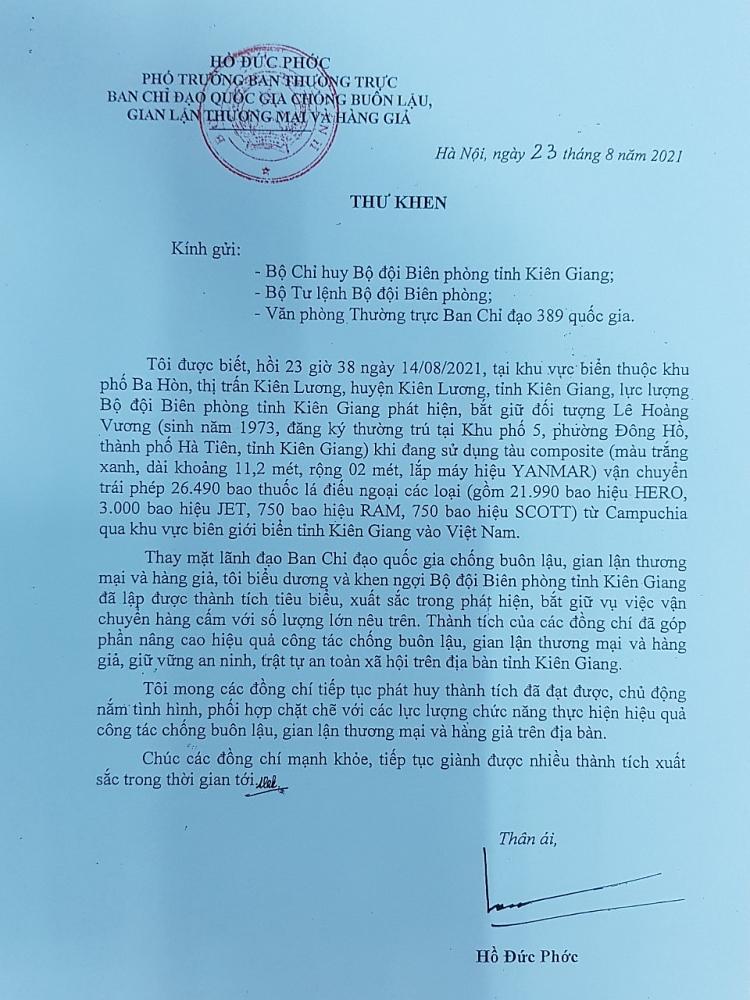 Bộ trưởng Hồ Đức Phớc gửi Thư khen lực lượng bắt giữ hơn 26.000 bao thuốc lá lậu tại Kiên Giang