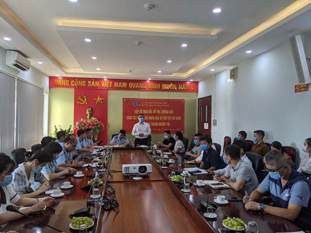 Khối doanh nghiệp FDI ghi nhận nỗ lực của Hải quan Móng Cái trong công tác cải cách thủ tục hành chính. Ảnh do Chi cục Hải quan CK Móng Cái cung cấp.