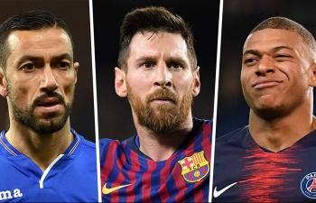 Top 10 tiền đạo xuất sắc nhất châu Âu: Messi dẫn đầu, Ronaldo vắng mặt
