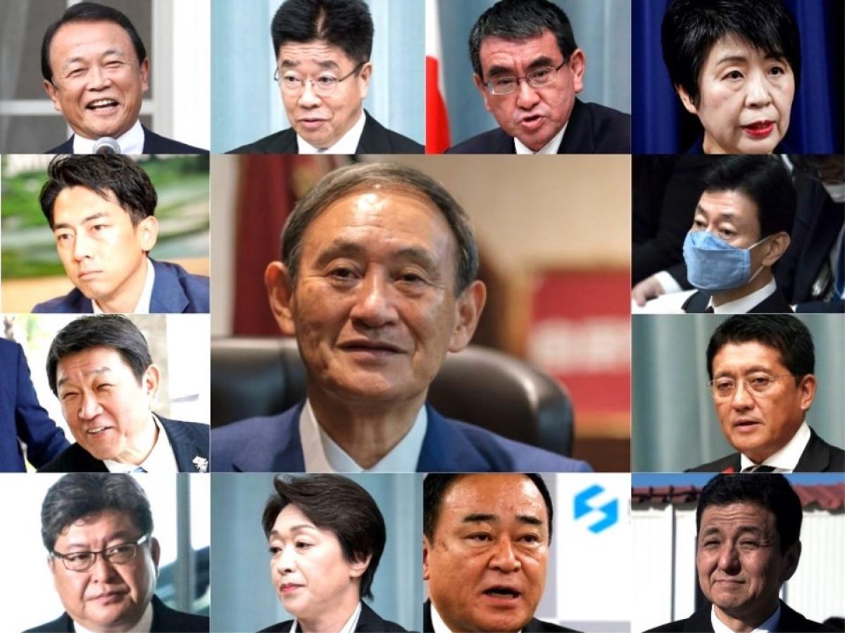 Các thành viên trong Nội các mới của Nhật Bản. Ảnh: Business Insider Japan.
