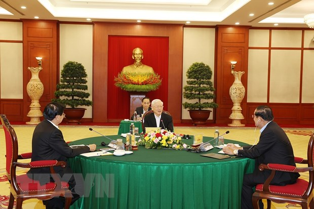 Tong Bi thu Nguyen Phu Trong du cuoc gap cap cao VN-Campuchia-Lao hinh anh 1