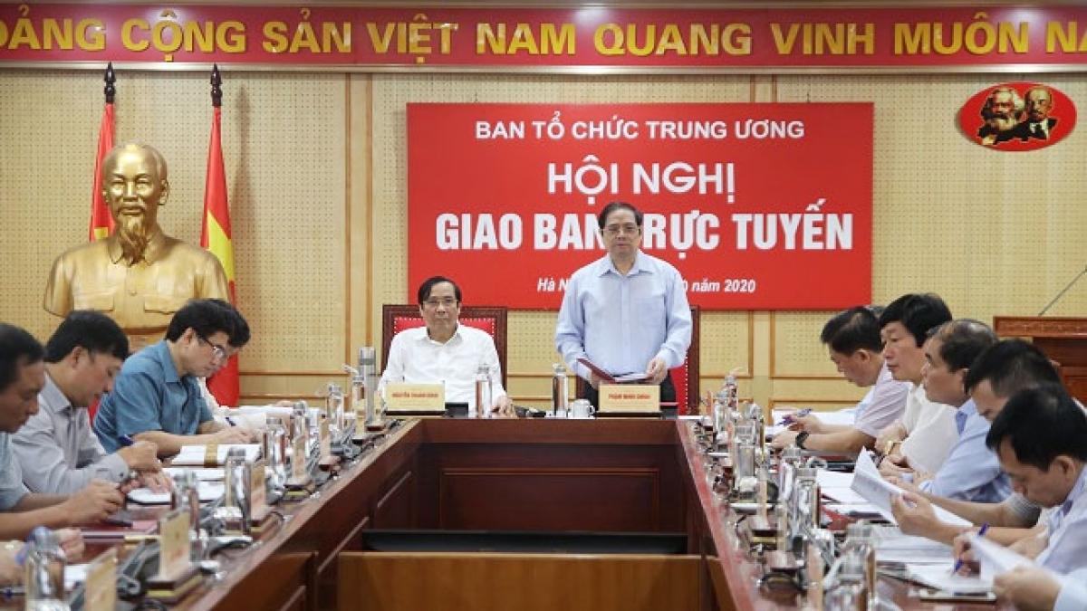 Ủy viên Bộ Chính trị, Bí thư Trung ương Đảng, Trưởng Ban Tổ chức Trung ương Phạm Minh Chính phát biểu tại hội nghị. (ảnh: Ngô Khiêm)