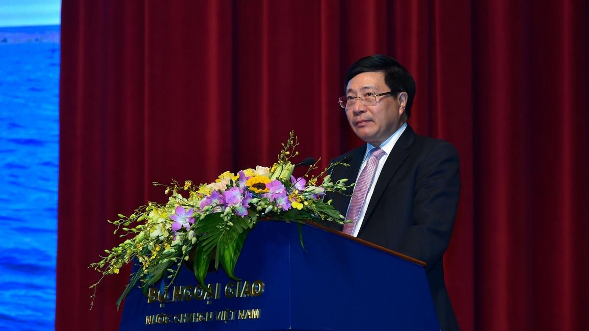 Phó Thủ tướng Phạm Bình Minh tại lễ kỷ niệm 45 năm Ủy ban Biên giới Quốc gia