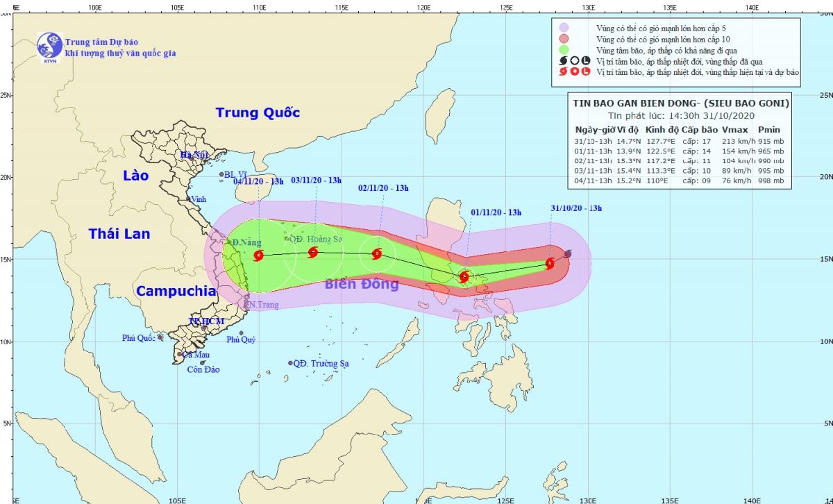 Hướng di chuyển của siêu bão Goni.
