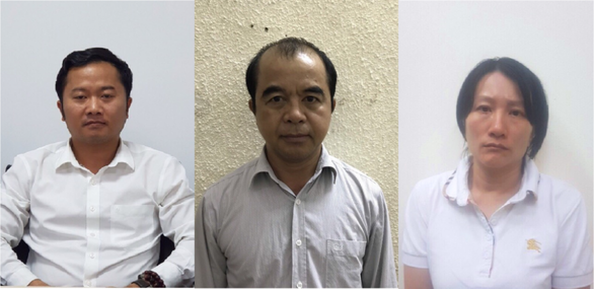 Các bị can Hòa, Quang, Thùy cán bộ quản lý Trường Đại học Đông Đô (từ trái qua) bị cơ quan CSĐT khởi tố trước đó. Ảnh: Công an cung cấp.