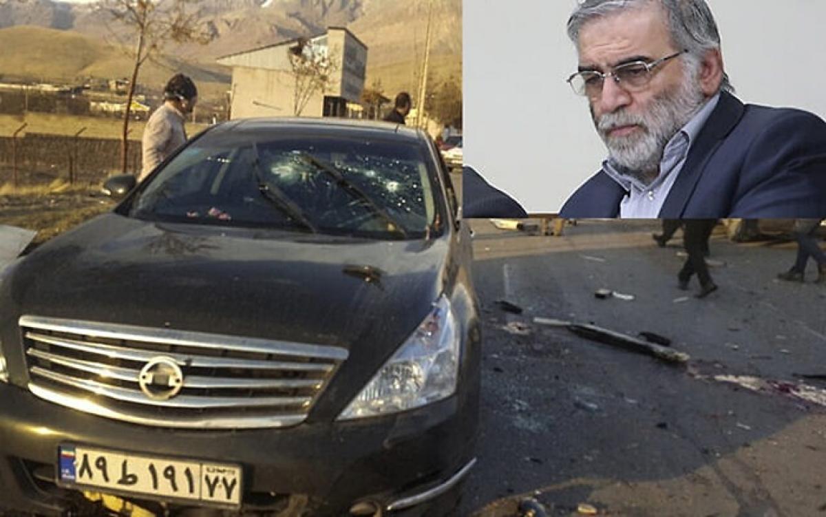 Chiếc xe ô tô chởFakhrizadeh và hiện trường vụ ám sát. Ảnh: Fars.