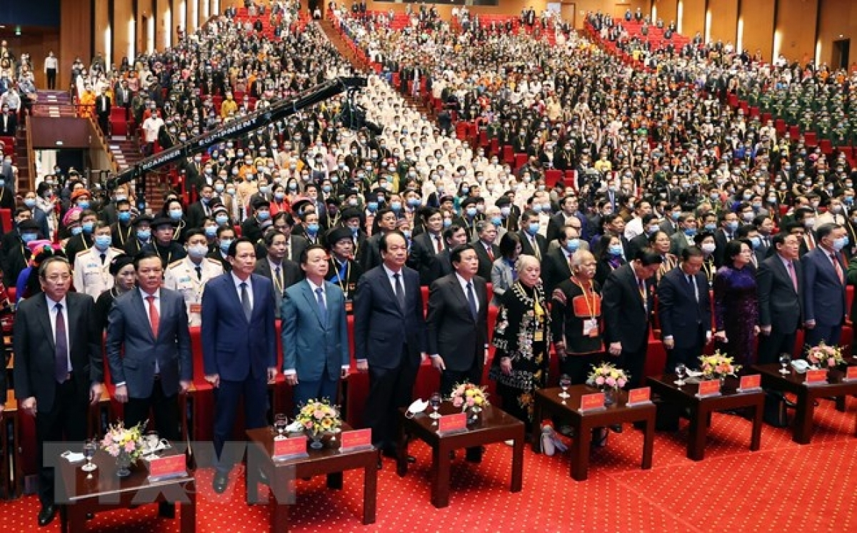 1593 đại biểu ưu tú đại diện cho nhân dân các dân tộc thiểu số trên mọi miền đất nước dự đại hội. Ảnh: TTXVN