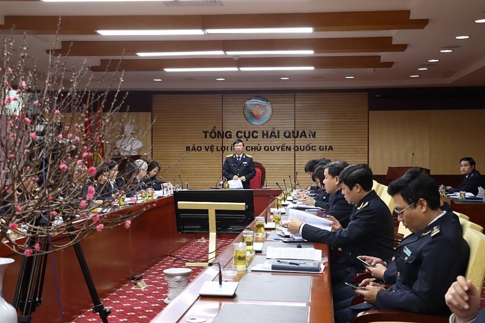 Phó Tổng cục trưởng Tổng cục Hải quan Lưu Mạnh Tưởng phát biểu tại hội nghị. Ảnh: N.Linh
