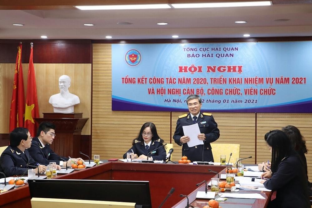Phó Tổng cục trưởng Nguyễn Dương Thái đánh giá cao kết quả công tác Báo Hải quan đạt được trong năm 2020. Ảnh: Quang Hùng.