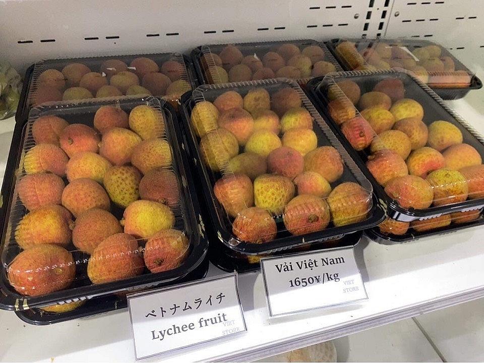 Vải thiều Việt Nam lên kệ siêu thị tại Nhật Bản.