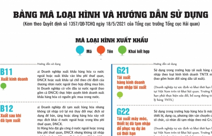 Infographics: Hướng dẫn sử dụng Bảng mã loại hình xuất khẩu, nhập khẩu