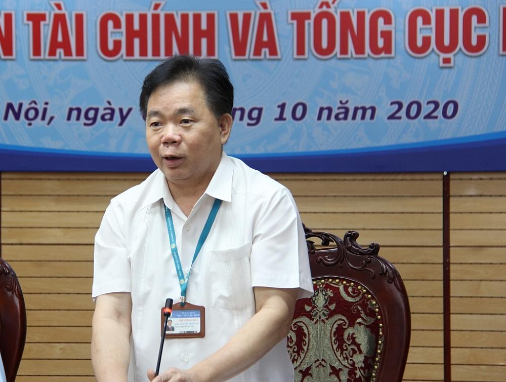 PGS.TS Nguyễn Trọng Cơ, Bí thư Đảng ủy, Giám đốc học viện Tài chính phát biểu tại lễ ký kết.