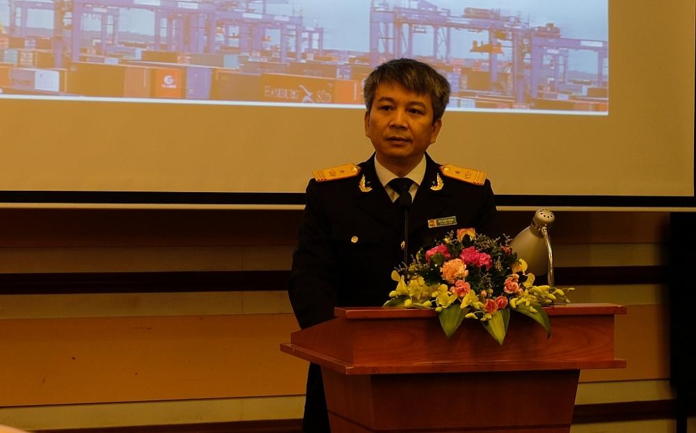 Phó Tổng cục trưởng Tổng cục Hải quan Mai Xuân Thành phát biểu tại hội thảo. Ảnh: N.Linh