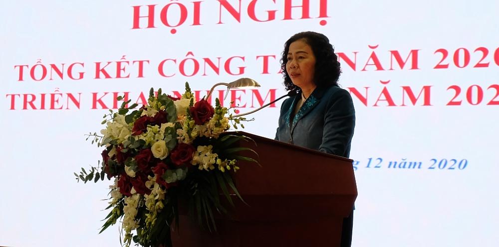 Thứ trưởng Bộ Tài chính Vũ Thị Mai phát biểu chỉ đạo. Ảnh: N.Linh