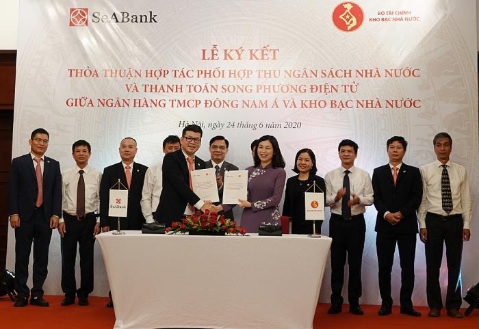 Kho bạc Nhà nước kí kết thoả thuận phối hợp thu ngân sách với SeaBank