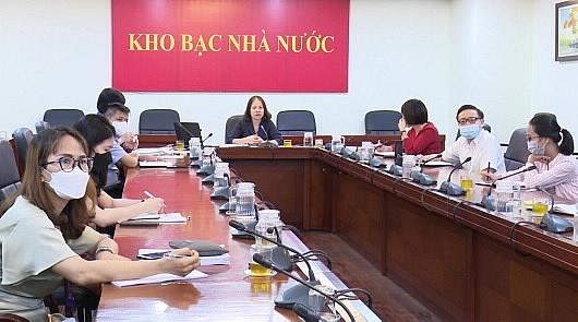 Toàn cảnh Hội nghị tại điểm cầu KBNN trung ương. Ảnh: KBNN.
