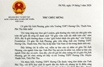 Nữ giáo viên Việt Nam lọt top 50 giáo viên toàn cầu năm 2020