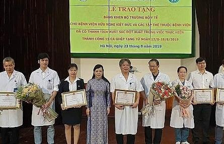 Bộ trưởng Y tế khen thưởng thành tích ghép tạng xuất sắc của BV Việt Đức