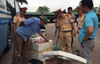 Bắt giữ 200 kg thịt lợn không rõ nguồn gốc trên xe khách