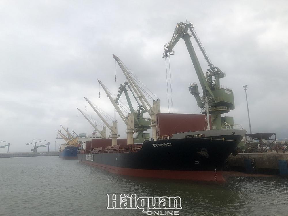 Tàu hàng bốc xếp hàng hóa tại cảng Vũng Áng. Ảnh: H.Nụ