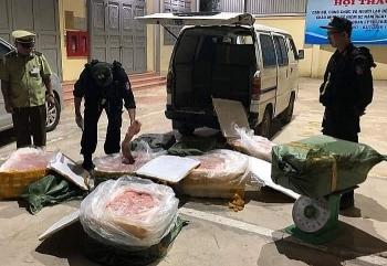 Lạng Sơn: Bắt và tiêu hủy 720 kg nầm lợn nhập lậu từ Trung Quốc