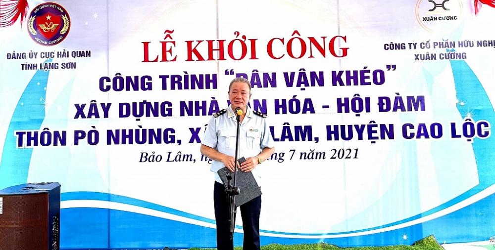 Ông Nguyễn Hữu Vượng- Phó Bí thư Đảng ủy, Phó Cục trưởng Cục Hải quan tỉnh Lạng Sơn phát biểu tại buổi Lễ khởi công. Ảnh: Mai Loan
