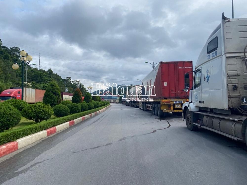 Nhiều xe hàng được các DN di chuyển đưa sang cửa khẩu quốc tế Hữu Nghị để làm thủ tục. Ảnh: Danh Tùng