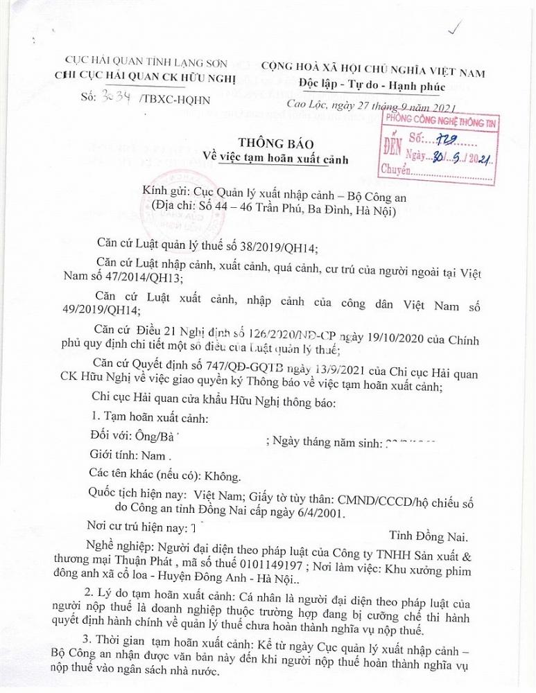 Hải quan Hữu Nghị gửi thông báo đề nghị cơ quan quản lý phối hợp ra quyết định tạm hoãn xuất cảnh đối với chủ doanh nghiệp, đại diện pháp luật của doanh nghiệp đang nợ thuế.