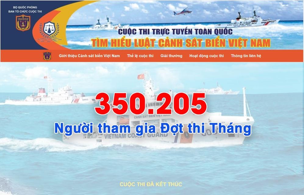"""Cuộc thi """"Tìm hiểu Luật Cảnh sát biển Việt Nam"""" thu hút 829.369 lượt người tham gia"""