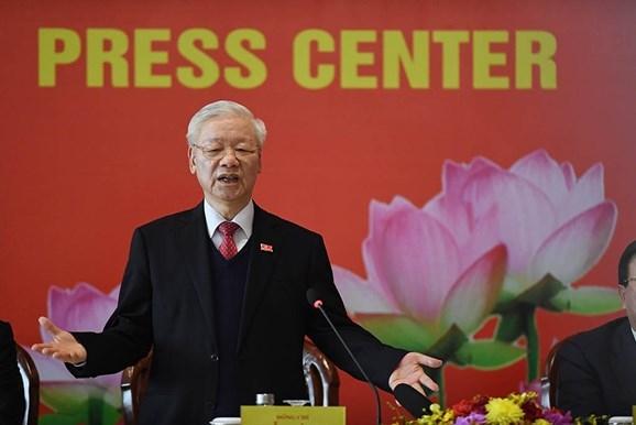 Tổng Bí thư, Chủ tịch nước Nguyễn Phú Trọng phát biểu tại buổi họp báo thông báo kết quả Đại hội XIII. Ảnh: