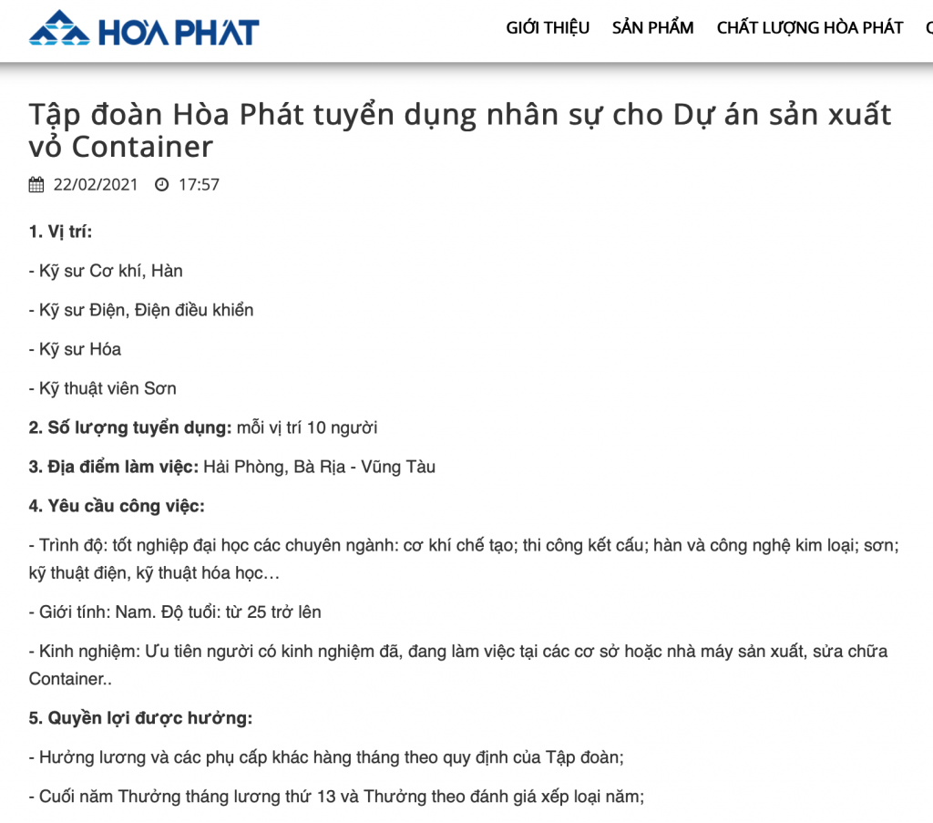 """Hòa Phát quyết định sản xuất container, """"bung hàng"""" đầu quý 2/2022"""