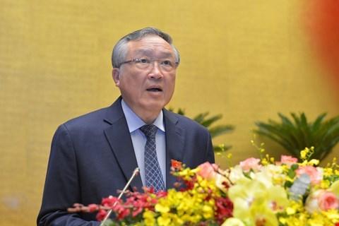Chánh án Tòa án nhân dân tối cao Nguyễn Hòa Bình trình bày Báo cáo công tác nhiệm kỳ 2016-2021 của Tòa án nhân dân tối cao.