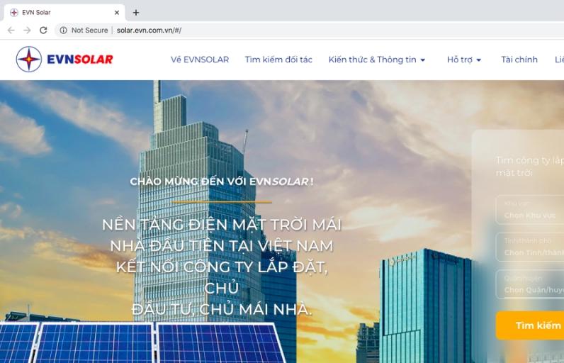 EVN thử nghiệm nền tảng EVNSOLAR thúc đẩy điện mặt trời mái nhà