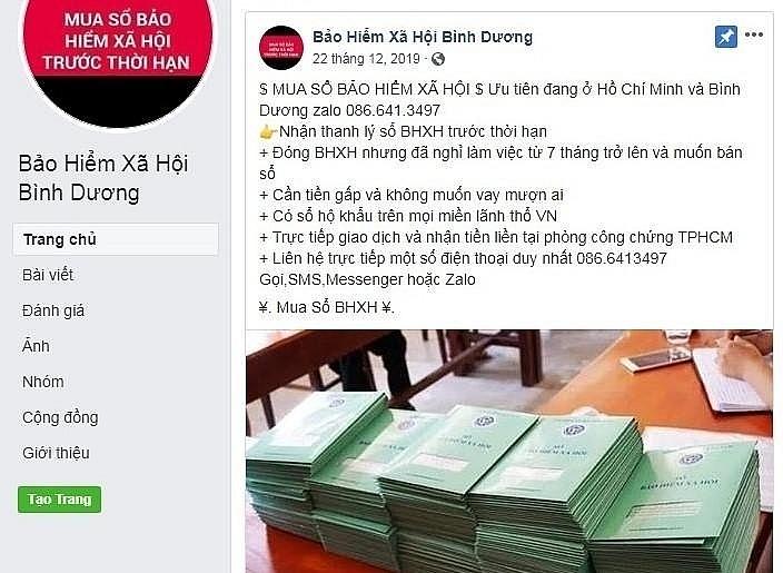mao danh tai khoan facebook de thu gom so bhxh nham truc loi