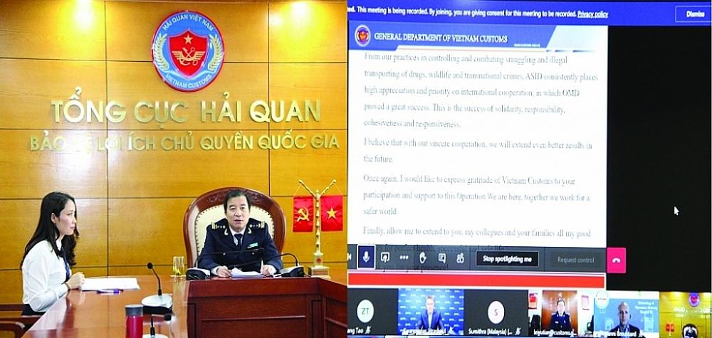 Đại diện Hải quan Việt Nam tham gia Hội nghị trực tuyến tổng kết Chiến dịch con Rồng Mê Kông giai đoạn 2, trong đấu tranh phòng chống ma túy và động thực vật hoang dã, ngày 12/11/2020. Ảnh: T.Bình