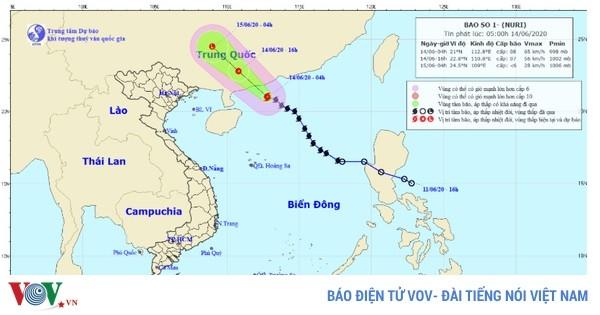 Bão số 1 sẽ gây mưa dông, gió giật mạnh ở các tỉnh Bắc Bộ
