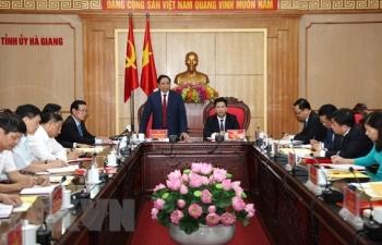 Trưởng ban Tổ chức TW làm việc với Ban Thường vụ Tỉnh ủy Hà Giang