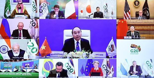 Thu tuong Nguyen Xuan Phuc du Hoi nghi thuong dinh G20 truc tuyen hinh anh 1