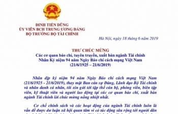 Bộ trưởng Đinh Tiến Dũng gửi thư chúc mừng các cơ quan báo chí, tuyên truyền, xuất bản ngành Tài chính