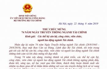 Bộ trưởng Đinh Tiến Dũng gửi thư chúc mừng nhân dịp 74 năm truyền thống ngành Tài chính