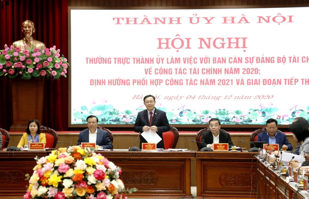 Ban cán sự Đảng Bộ Tài chính làm việc với Thành ủy Hà Nội về công tác tài chính